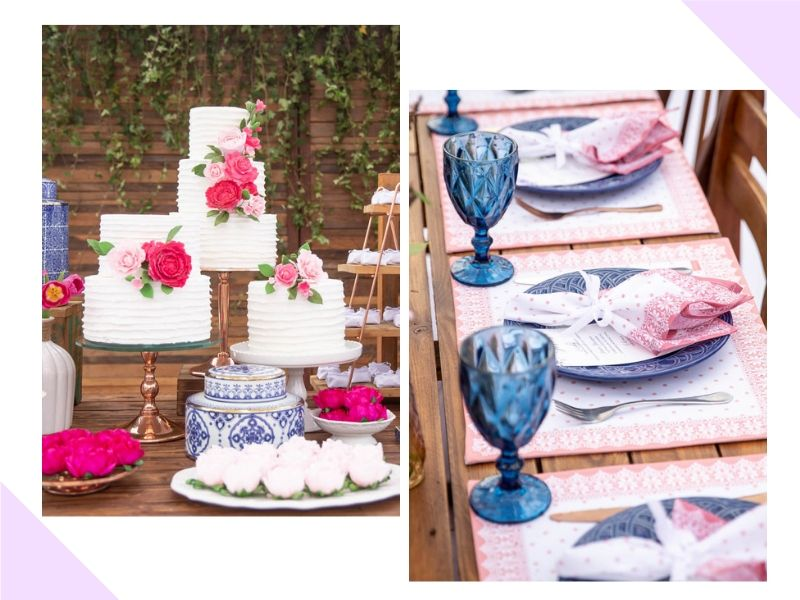 Decoração alegre em tons de Pink e Azul