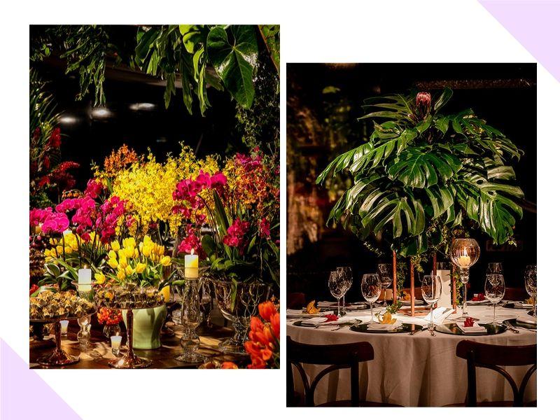 Decoração tropical-contemporânea para casamento