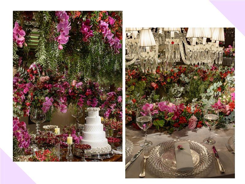 Decoração de casamento colorida com lustres, cristais e espelhos