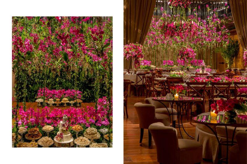 Decoração de casamento com jardim de orquídeas pink