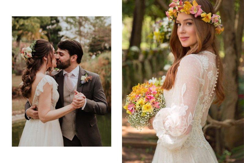 Tendência: Grinalda com flores naturais para noivas e damas